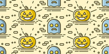 Halloween Seamless Pattern With Pumpkin And Ghost. Vector Background