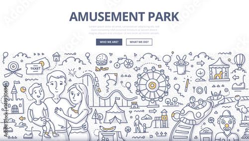 Canvas-taulu Amusement Park Doodle Concept