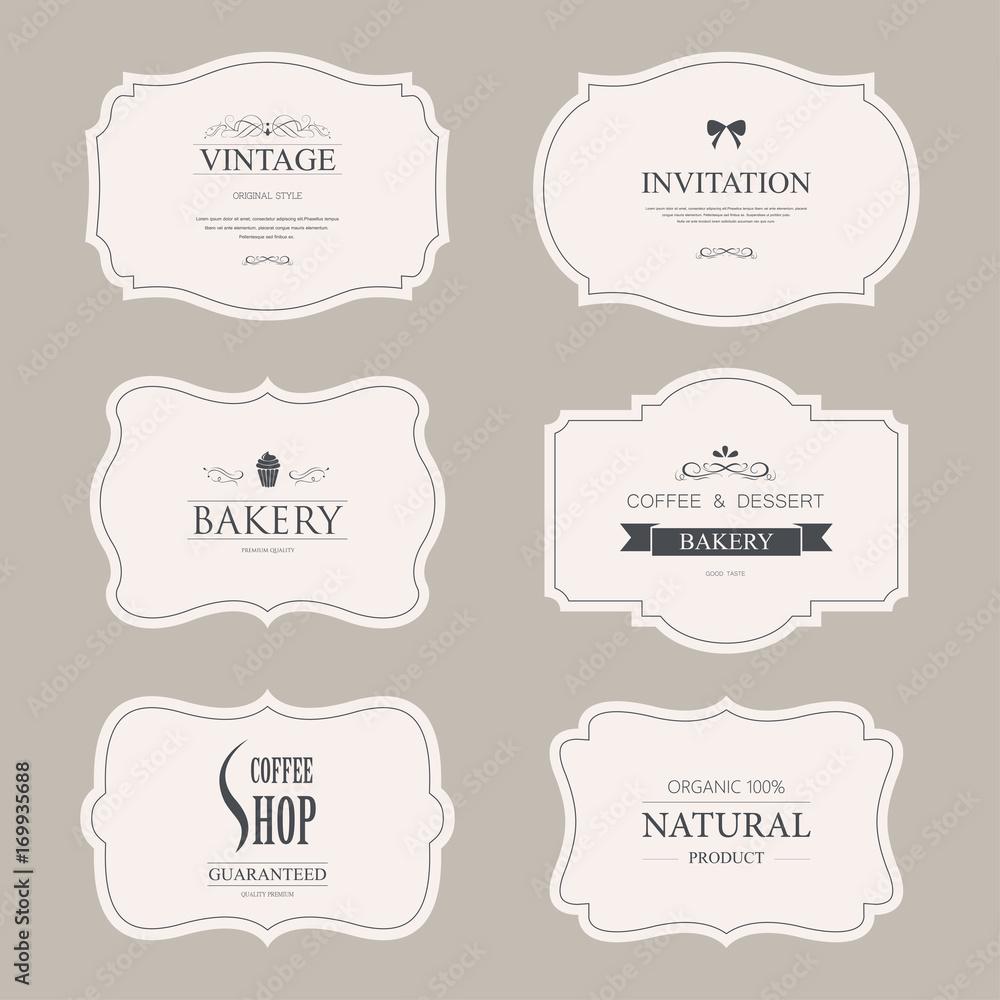 Fototapeta set of vintage labels old fashion. banner illustration vector.