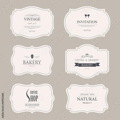 Fototapety, obrazy: set of vintage labels old fashion. banner illustration vector.