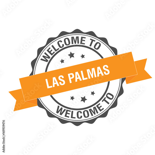Welcome to Las Palmas stamp Illustration