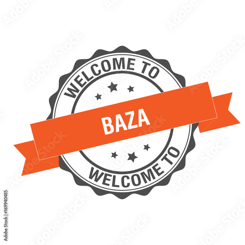 Photo Welcome to Baza stamp illustration