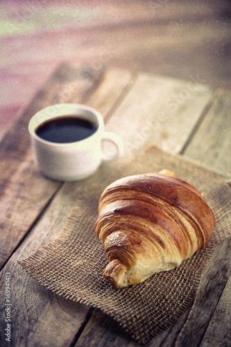 Canvas Prints Coffee beans café croissant
