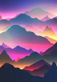 Abstract Neon Mountain Background - Vector Illustration. - 169941635