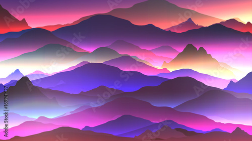 Fotobehang Snoeien Abstract Neon Mountain Background - Vector Illustration.