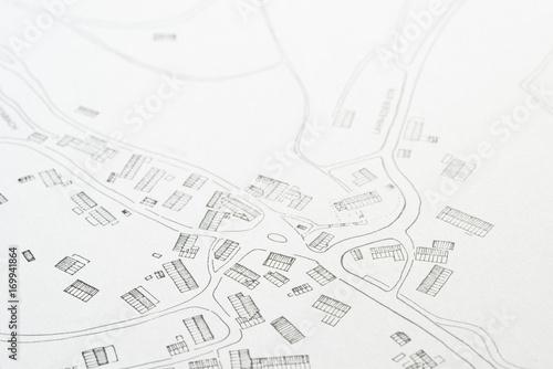 Türaufkleber Darknightsky Lageplan mit Bebauung eines Dorfes