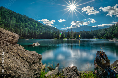 Garden Poster Mountains Mountain lake and dark green coniferous forest in Switzerland before sunset