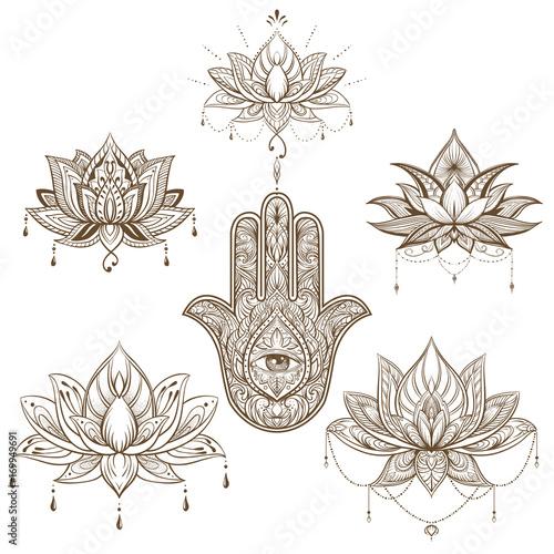 Lotus Flower And Hamsa Set Vector Boho Style Yoga India Arabic