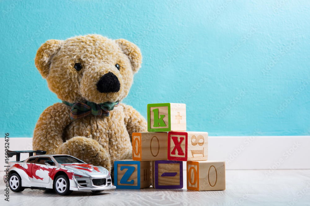 Fototapety, obrazy: Teddy bear and toys in a baby's room