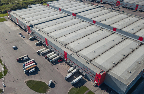 Aerial view of trucks loading at logistic center