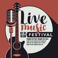 Vector Poster For Music Festival With An Acoustic Guitar, A Microphone, The Inscription Live Music And Place For Text In Retro Style