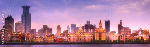 Printed kitchen splashbacks Purple Shanghai skyline cityscape
