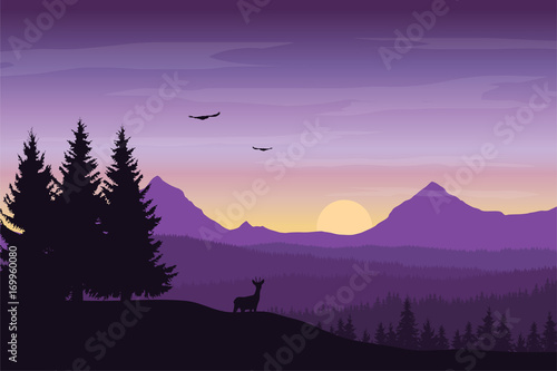 Poster Prune Vector illustration of mountain landscape with forest and deer under a purple sky with sunrise and clouds