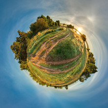 Planet Earth. Green Little Planet With Trees And Field. Tiny Planet With Blue Sky And Sun. 360 Viewing Angle.