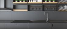 Modern Dark Kitchen Counters Closeup