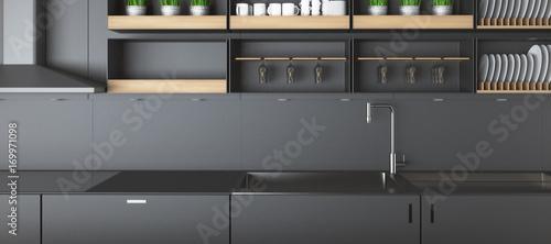 Modern dark kitchen counters closeup Canvas