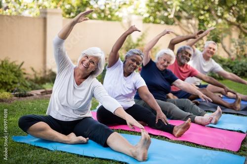 Obraz Portrait of smiling senior friends exercising at park - fototapety do salonu