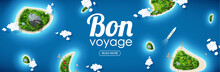 Vector Illustration Of Tropical Island Top View Sea Blue Ocean Bon Voyage Place For Text