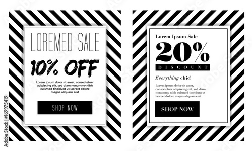 Seasonal Sale Background With Elegant Black And White Colour Vector