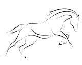 Fototapeta Konie - Running black line horse on white background. Vector graphic.