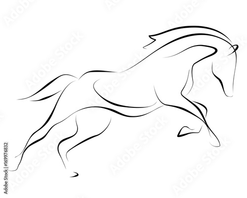 Photo  Running black line horse on white background. Vector graphic.