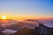 Picturesque red sunrise in austrian Alps