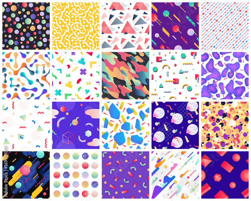 Poster Artificiel Geometric seamless patterns.