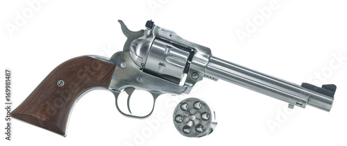 Revolver with cylinder Isolated on White Background Wallpaper Mural