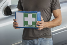 Man Holding First Aid Kit For ...