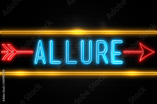 Allure  - fluorescent Neon Sign on brickwall Front view Canvas Print