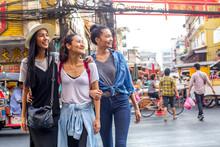 Three Pretty Asian Girls Are Walking Around And Having Fun In Chinatown, Bangkok