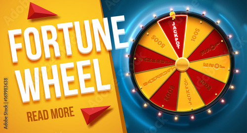 Carta da parati  vector illustration of wheel of fortune 3d object isolated on blue background pl