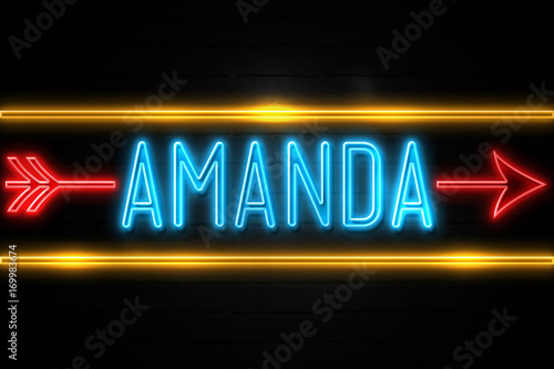 Photo Amanda  - fluorescent Neon Sign on brickwall Front view