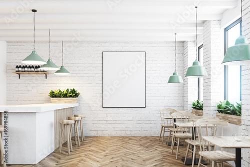 Fotobehang Restaurant White brick cafe, bar and poster