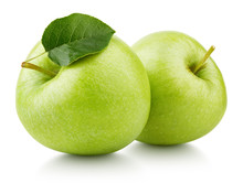 Two Ripe Green Apple Fruits With Apple Leaf Isolated On White Background. Green Apples With Clipping Path