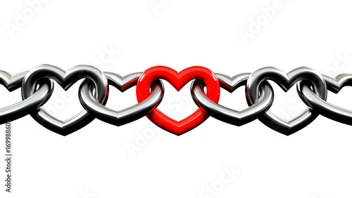 Metallic Chains shaped like a heart Locked with a red one in