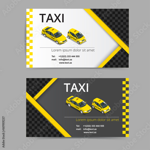 Business card design in black white and yellow colors vector business card design in black white and yellow colors vector template for taxi company reheart