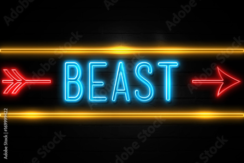 Photo  Beast  - fluorescent Neon Sign on brickwall Front view