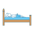 man sleeping on the bed vector illustration design