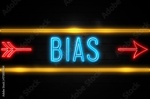 Bias  - fluorescent Neon Sign on brickwall Front view Wallpaper Mural