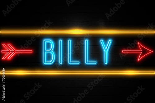 Photo  Billy  - fluorescent Neon Sign on brickwall Front view