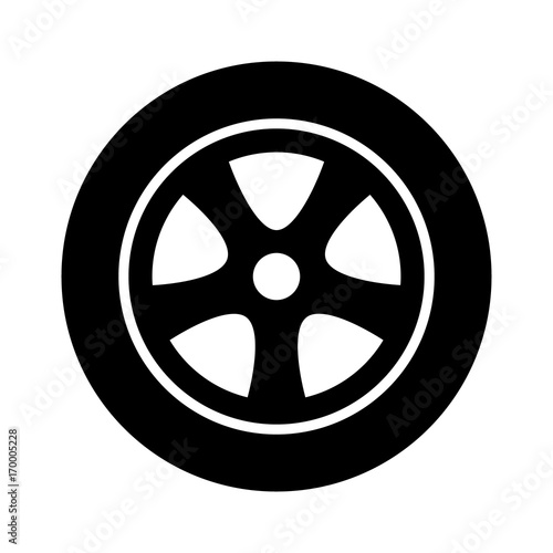 Fotografía  Car, vehicle or automobile tire alloy wheel with rim flat vector icon for apps a