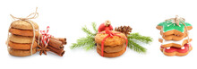 Delicious Christmas Cookies On White Background