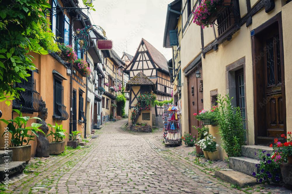 Fototapeta medieval village Eguisheim in Alsace, east France