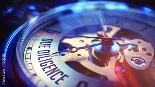 Fotografie, Obraz Due Diligence - Wording on Vintage Pocket Watch. 3D.
