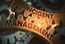 Incident Management On Golden Cog Gears. 3D Illustration.