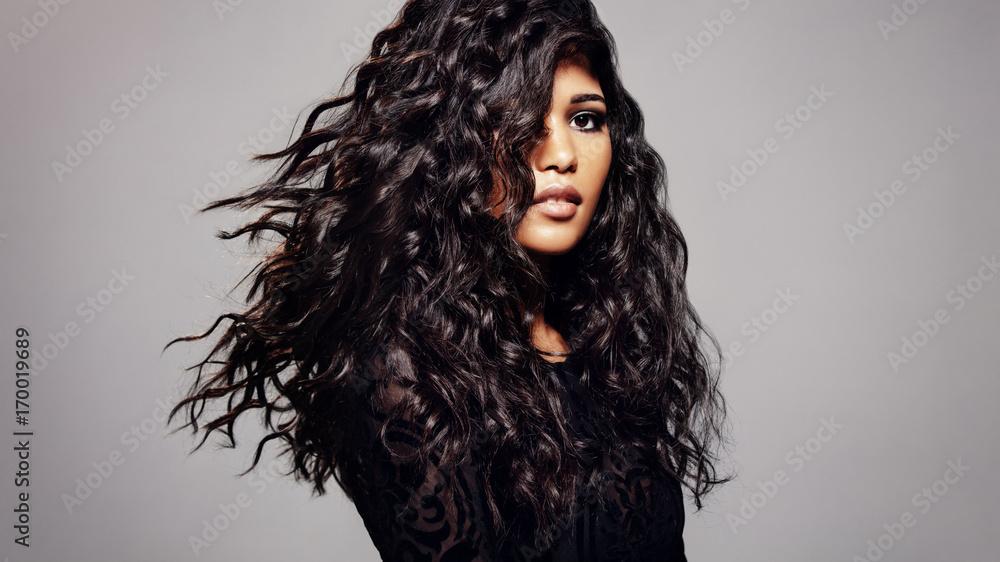 Fototapeta Fashion model with wavy hairstyle