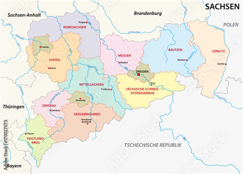 Saxony administrative and political map in german language – kaufen ...
