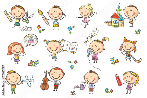Funny Cartoon Kids Engaged In Different Creative Activities Like