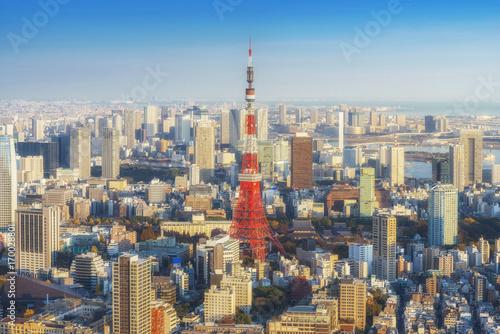 Plakat Linia horyzontu Tokio pejzaż miejski z Tokio wierza przy zmierzchem, Japonia
